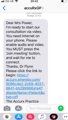 Screenshot of the text message sent to patients before the video consultation
